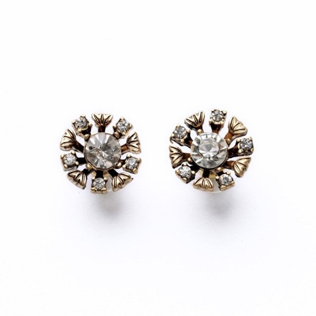 Miljana Crystal Antique Gold Studs - Best Seller - La Petite Boheme