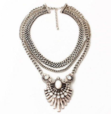 Hailey Silver Layered Statement Necklace - Best Seller - La Petite Boheme