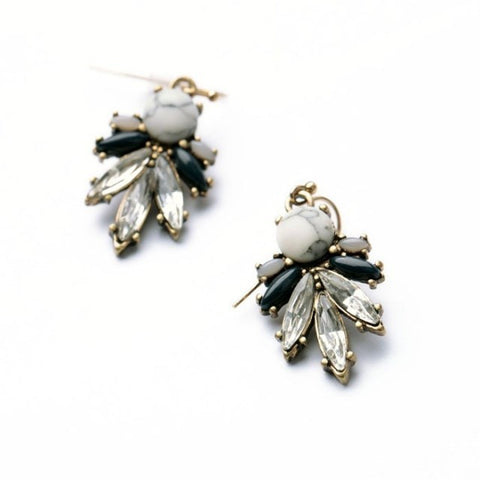 Michelle Black & White Statement Earrings - La Petite Boheme