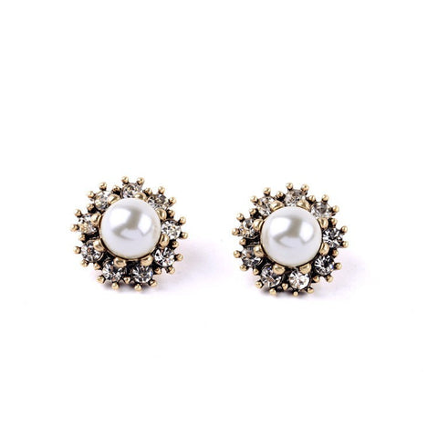 Grace Vintage Crystal Pearl Stud  Earrings - La Petite Boheme