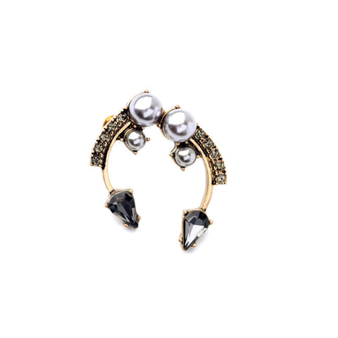 Malika Peak Stone Stud Curved Earrings - La Petite Boheme