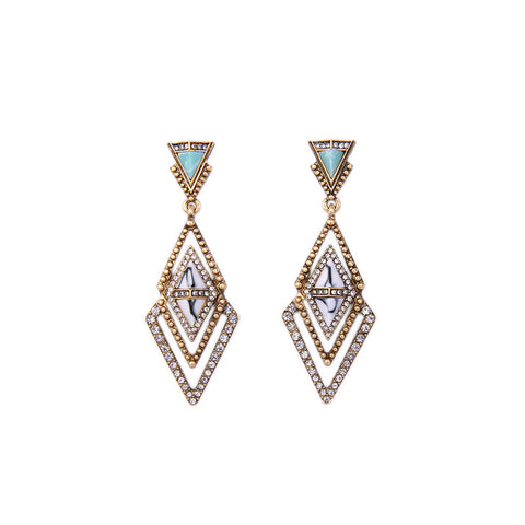 Daria Geometric Crystal Stone Dangle Earrings - Staff Pick!