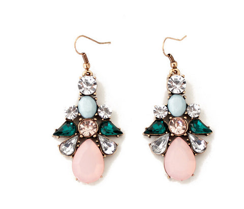 Sydney Pink Crystal Statement Earrings - La Petite Boheme