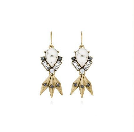 Olivia Crystal  Howlite Statement Earrings - La Petite Boheme