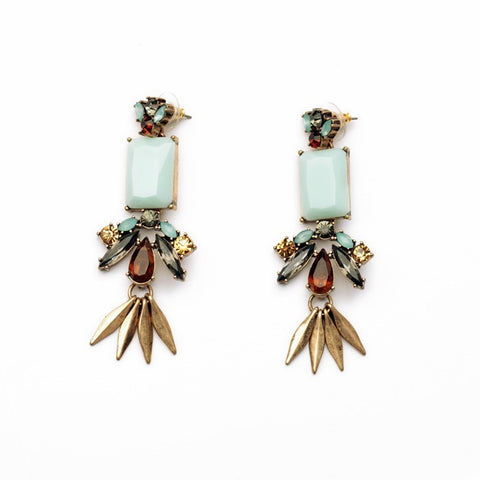 Sasha Mint Stone Statement Earrings