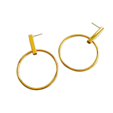 Lara Geometric Modern Gold Circle Earrings - Gold or Silver - La Petite Boheme