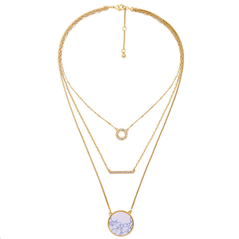 Wren Layered Marble Stone Necklace - La Petite Boheme
