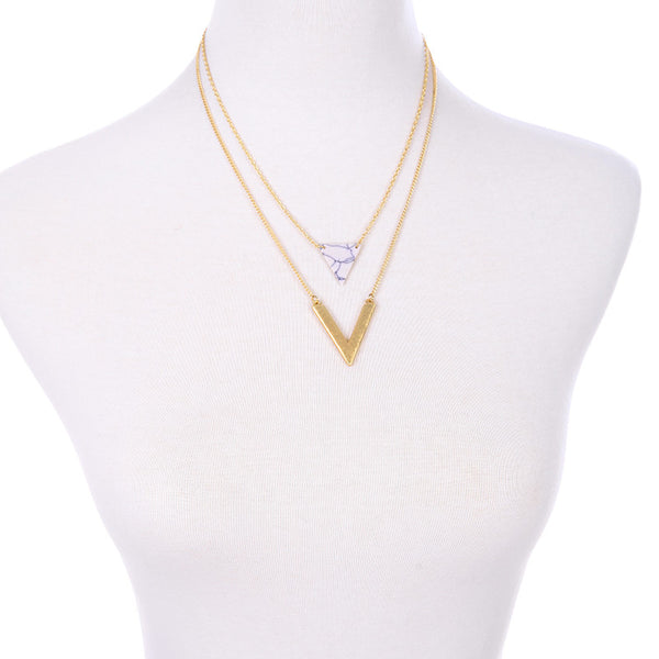 Missy Layered 2 pc Chevron Point Necklace - La Petite Boheme