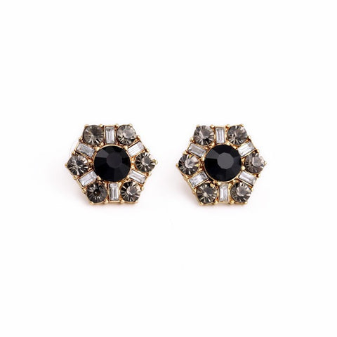 Rihanna Black Crystal Stud Earrings - La Petite Boheme