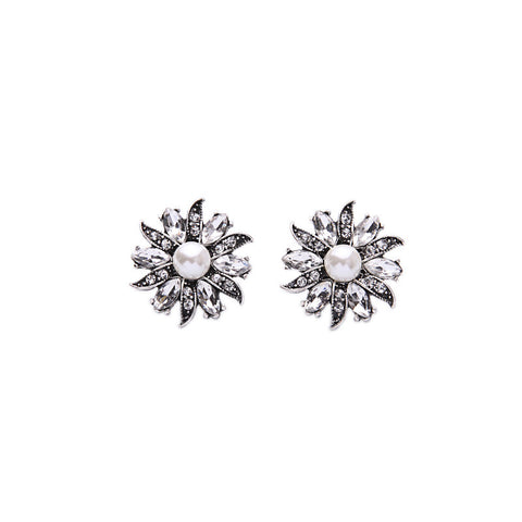 Galina Silver Pearl Stud Earrings - La Petite Boheme