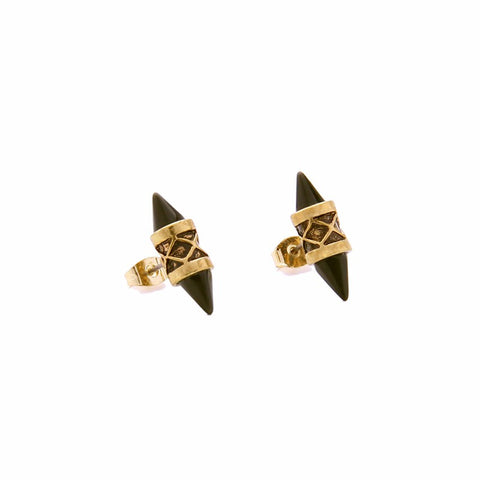 Ainsley Black Geo Point Stud Earrings - La Petite Boheme