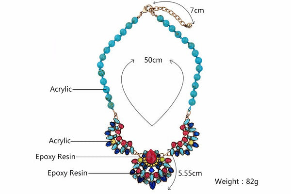 Svetlana Colourful Statement Collar Necklace