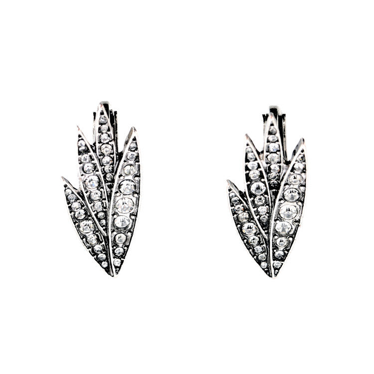 Demelza  Antique Silver Willow Stud Earrings - Clip Ons - La Petite Boheme