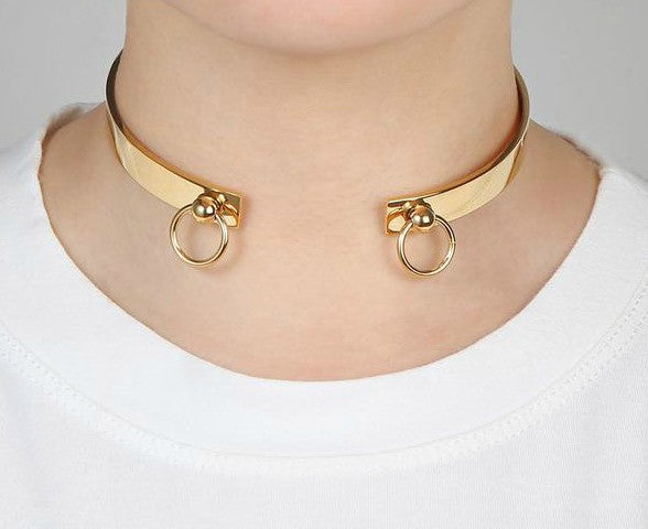 Modern Double Circle Cuff Choker Necklace - Silver, Gold or Rose Gold