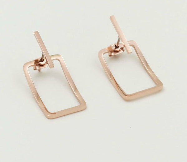 Modern Geometric Earrings Bar Stud Earrings - Gold, Rose Gold or Silver - La Petite Boheme