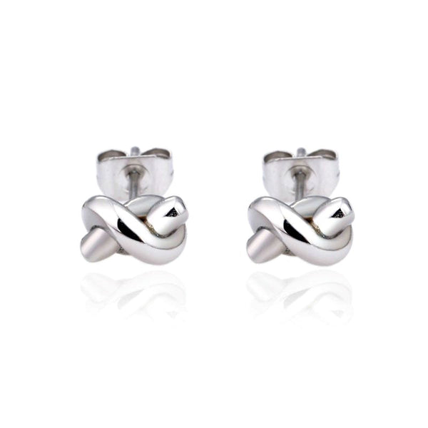 Modern Mini Knot Stud Earrings - Gold or Silver
