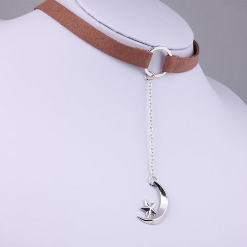 Moon & Star Pendant Choker Necklace