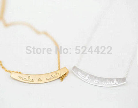 Gold and Silver Make a Wish Letter Lucky Pendant Necklace