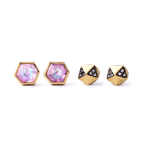 Gigi 2 Pair  Cubic Stud Earrings Set - Staff Pick! - La Petite Boheme