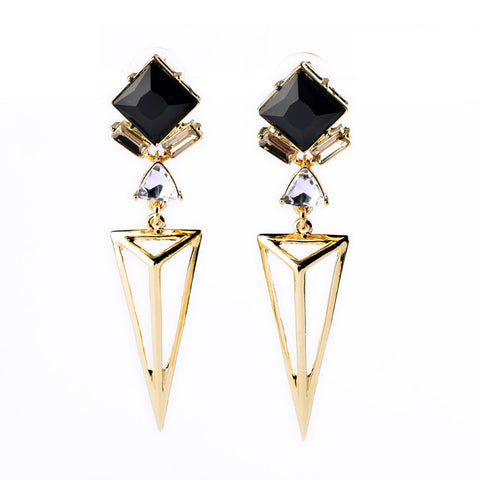 Evie Black Geometric Deco Earrings - La Petite Boheme