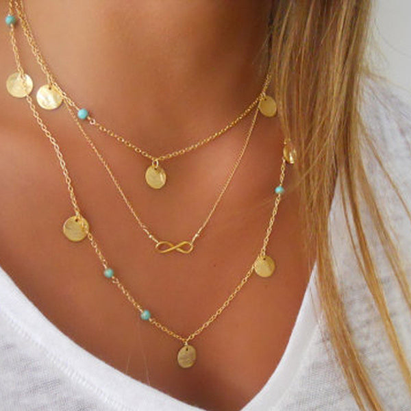 Multi Layer Tassel Infinity Necklace  Bohemian Turquoise