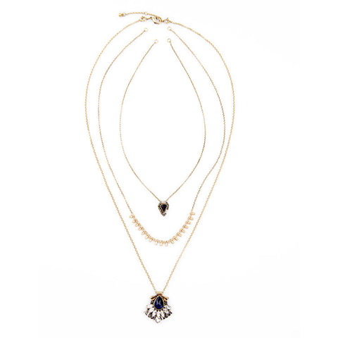 Jill Black Crystal Stone Layered Necklace