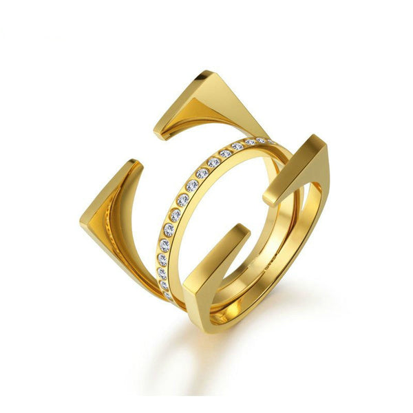 Modern 3pc Geometric Stacking Ring - Gold, Rose Gold & Silver - La Petite Boheme