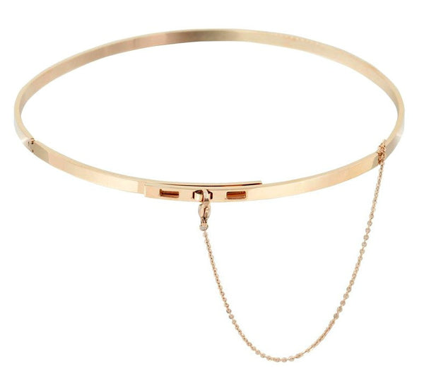 Modern Choker Necklace with Safety Chain - Gold, Rose Gold or Silver