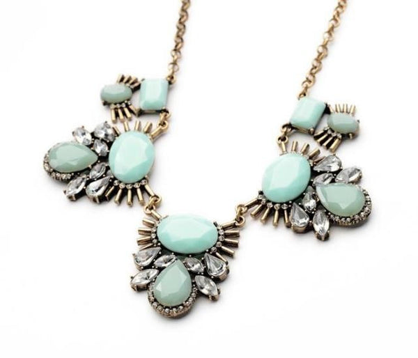 Sarah Mint Green Statement Necklace - La Petite Boheme