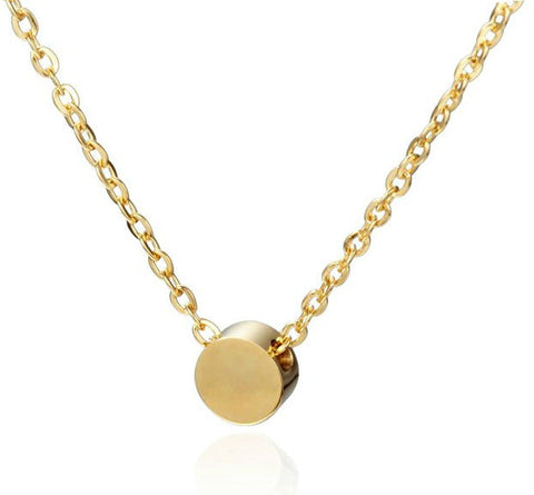 Modern Simple Geometric Mini Circle Necklace - Gold, Silver or Rose Gold - La Petite Boheme