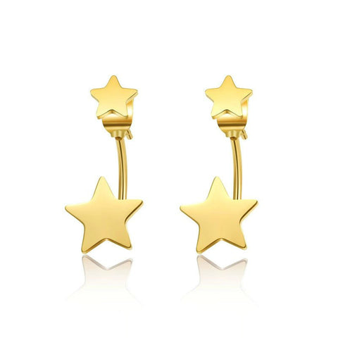 Modern Double Star Stud Earrings - Silver, Gold or Rose Gold - La Petite Boheme