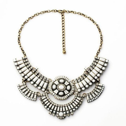 Suzy White Boho Statement Necklace - La Petite Boheme