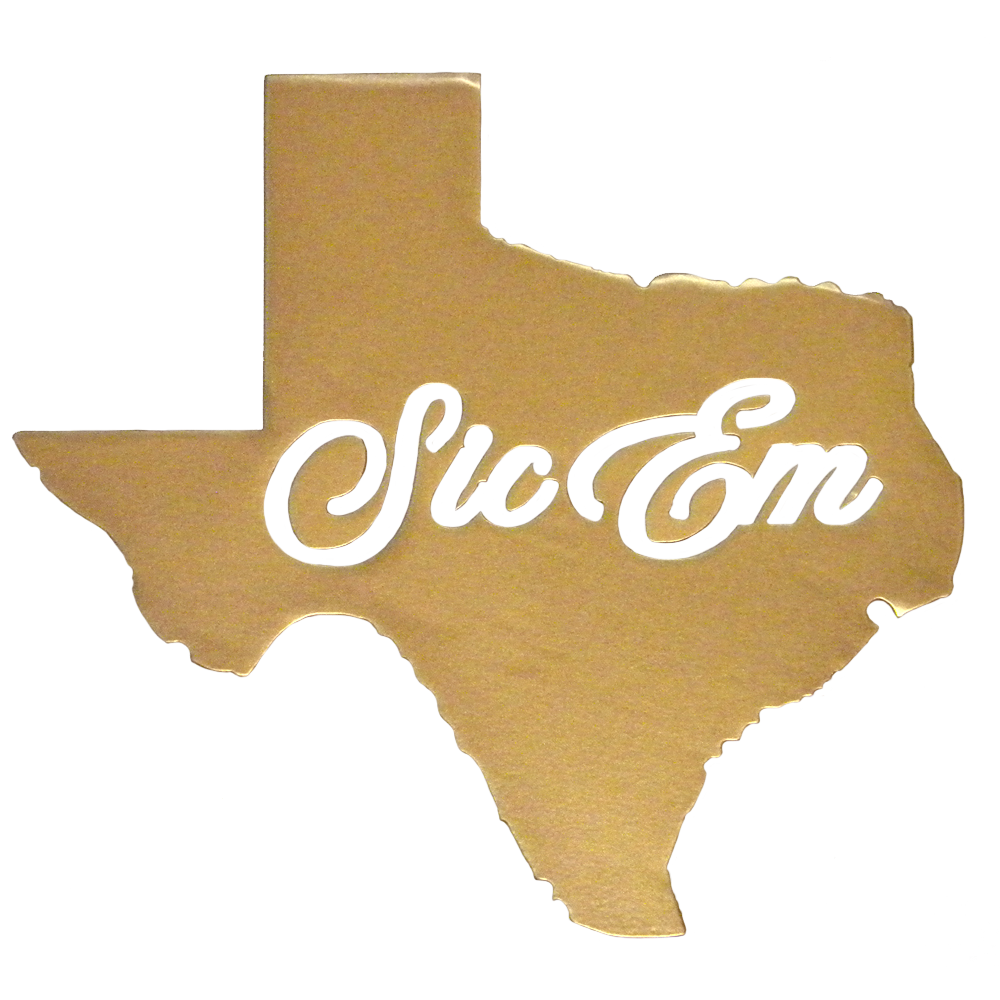 Texas Sic Em Wall Sign in Gold