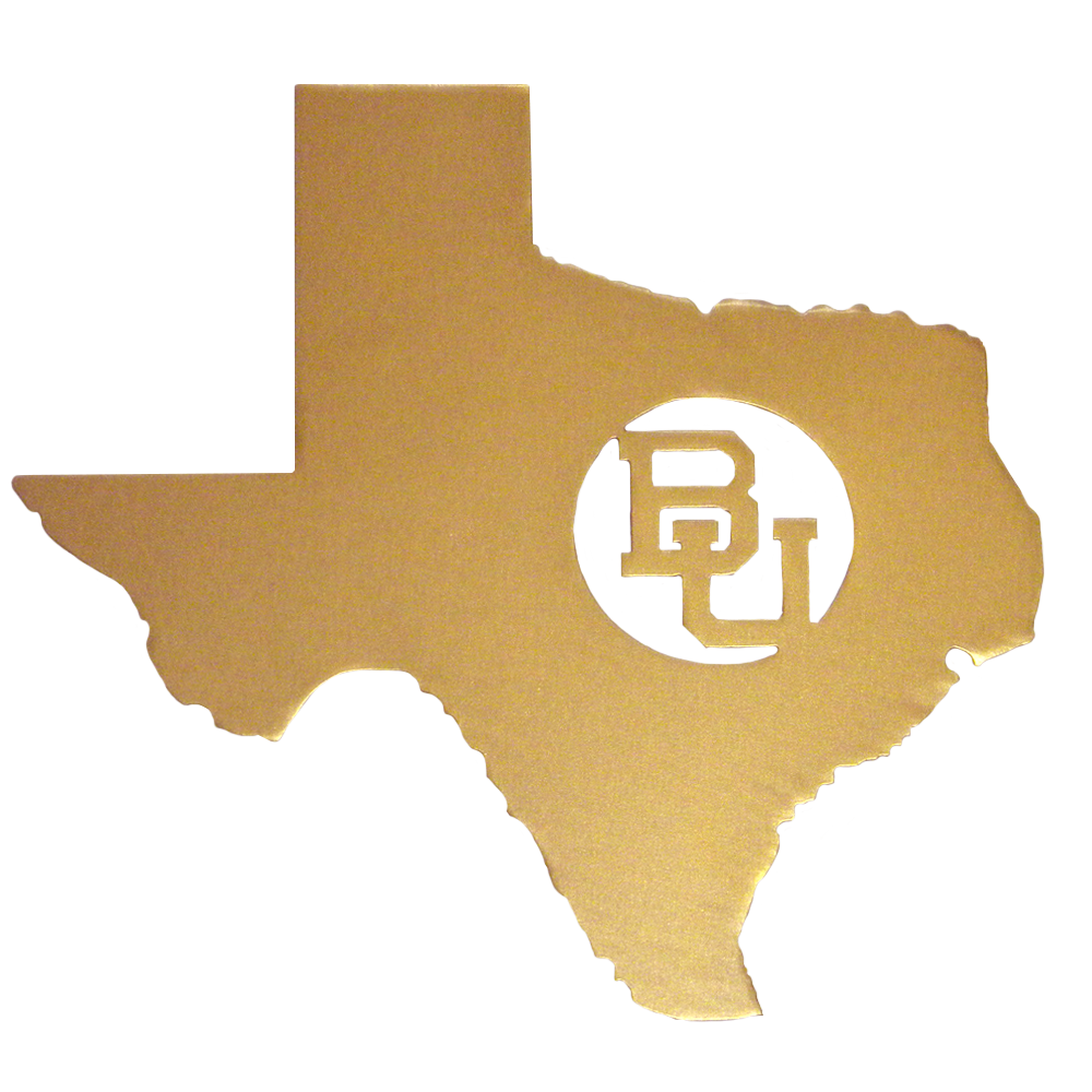 Texas BU Metal Sign in Gold