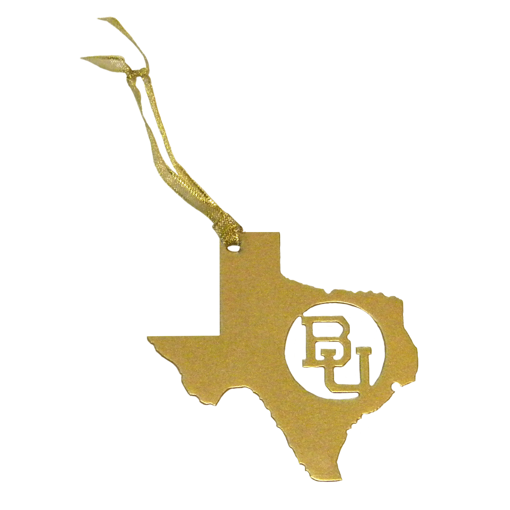 Texas BU Baylor Christmas Ornament Gold