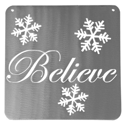 Believe Christmas Sign with Snowflakes