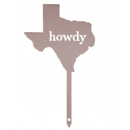 Champagne Texas Howdy Metal Garden Stake