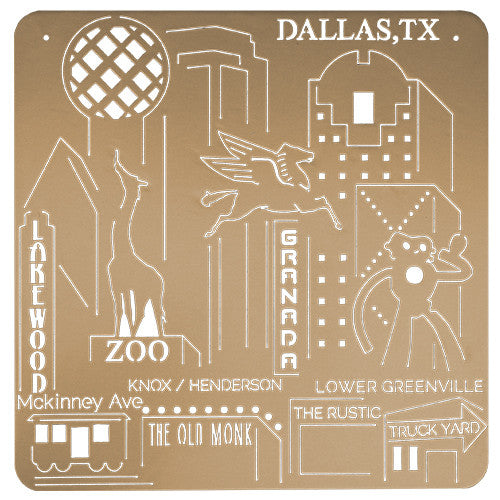 Dallas, TX Downtown Skyline Art - Gold Metal