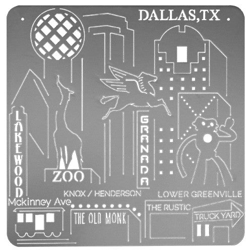 Dallas, TX Downtown Skyline Art - Silver Metal