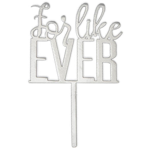 For Like Ever Metal Cake Topper for Bridal Shower - Silver Sparkle