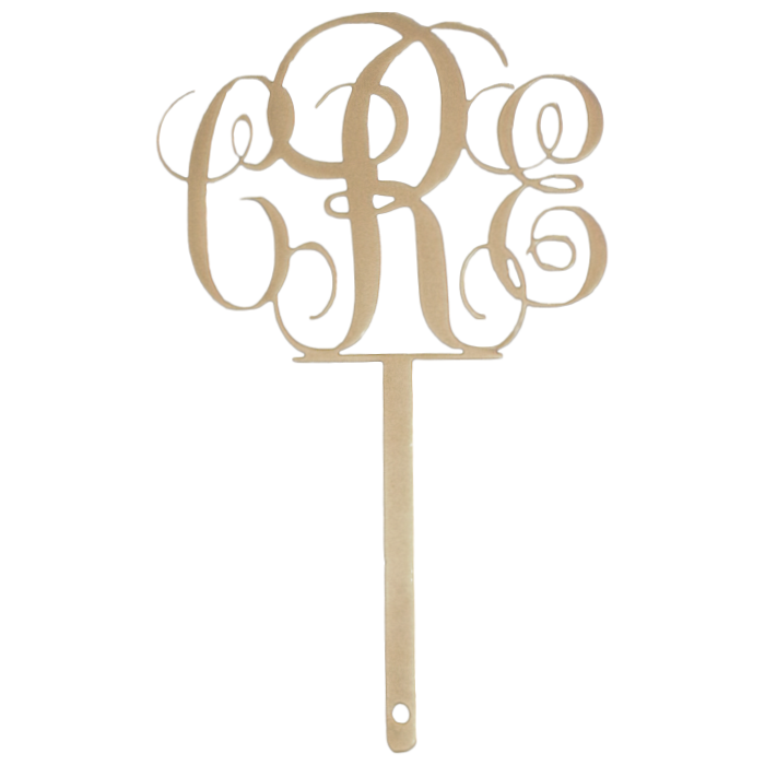 Custom Monogram Cake Topper Gold