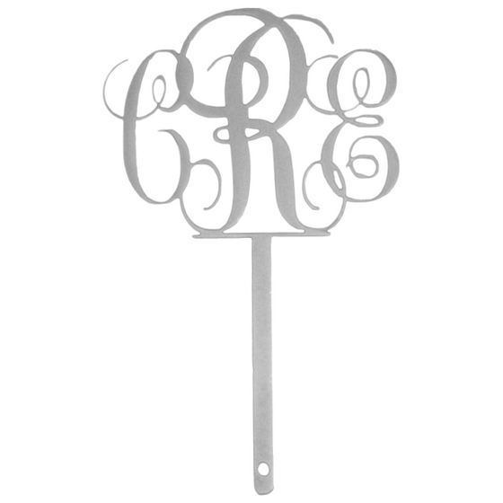 Custom Monogram Cake Topper Silver