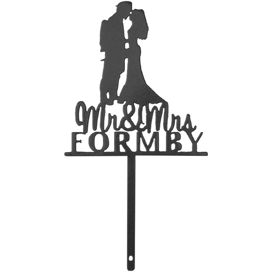 Mr. & Mrs. with Last Name & Firefighter | Cake Topper