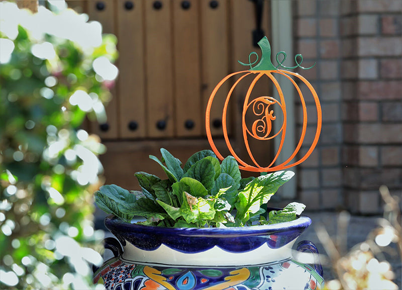 Pumpkin with Monogram Letter | Yard Stake