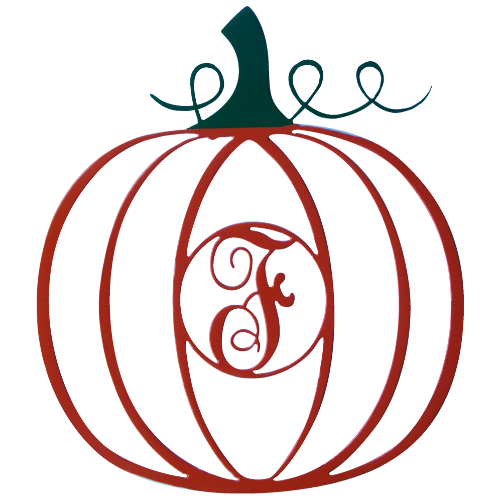 Pumpkin with Monogram | Wreath Ornament