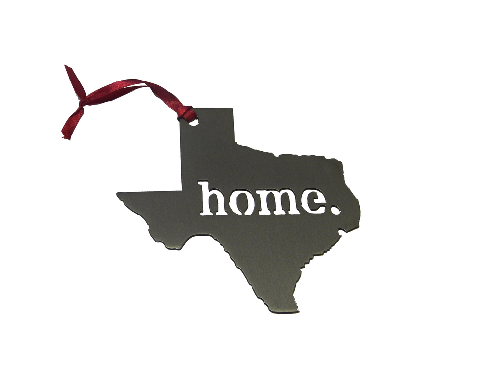 Texas Home Matte Silver Ornament