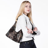 GENUINE LEATHER BAG WITH SERPENT PRINT