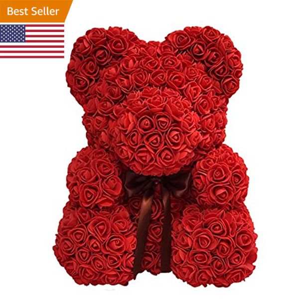 Rose Flower Teddy Bear with Free Gift box
