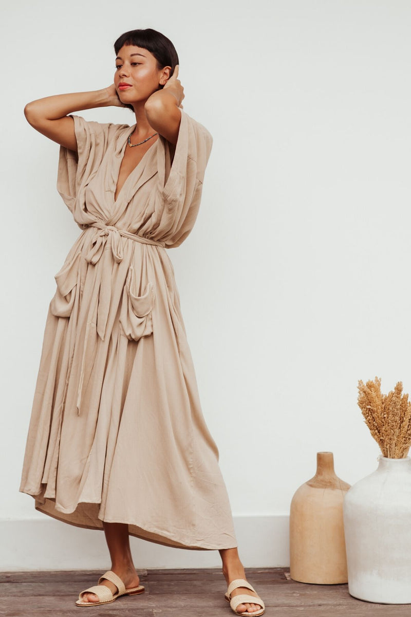 Saraswati Gown (100% Bamboo Rayon, Spring Clay Edition, Pre-Order)