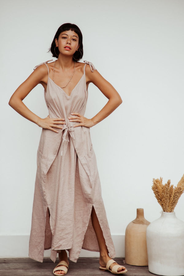 Radiant Gown (100% Linen v neck, Royal Lavender Nude)